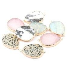 Pendentifs en pierre naturelle, Agates en forme de goutte d'eau, connecteur à Double trou pour la fabrication de colliers ou de bijoux, taille 55x35x6mm