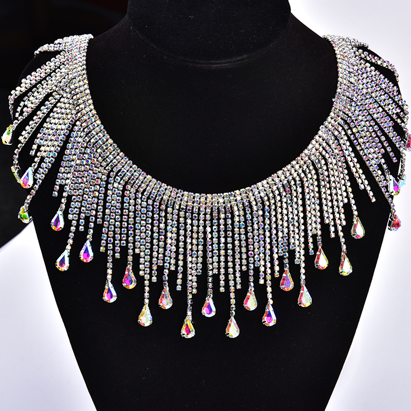 Crystal AB Glass Rhinestone Fringe Chain Sewing Metal Strass Tassels Wedding Dress Applique Trim for Stage Dance Clothes Crafts