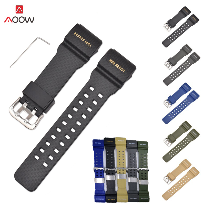 AOOW Watchband for Casio GG-1000/GWG-100/GSG-100 G-Shock Rubber Watch Strap Bands Waterproof Sport Watch Belt With Tools image