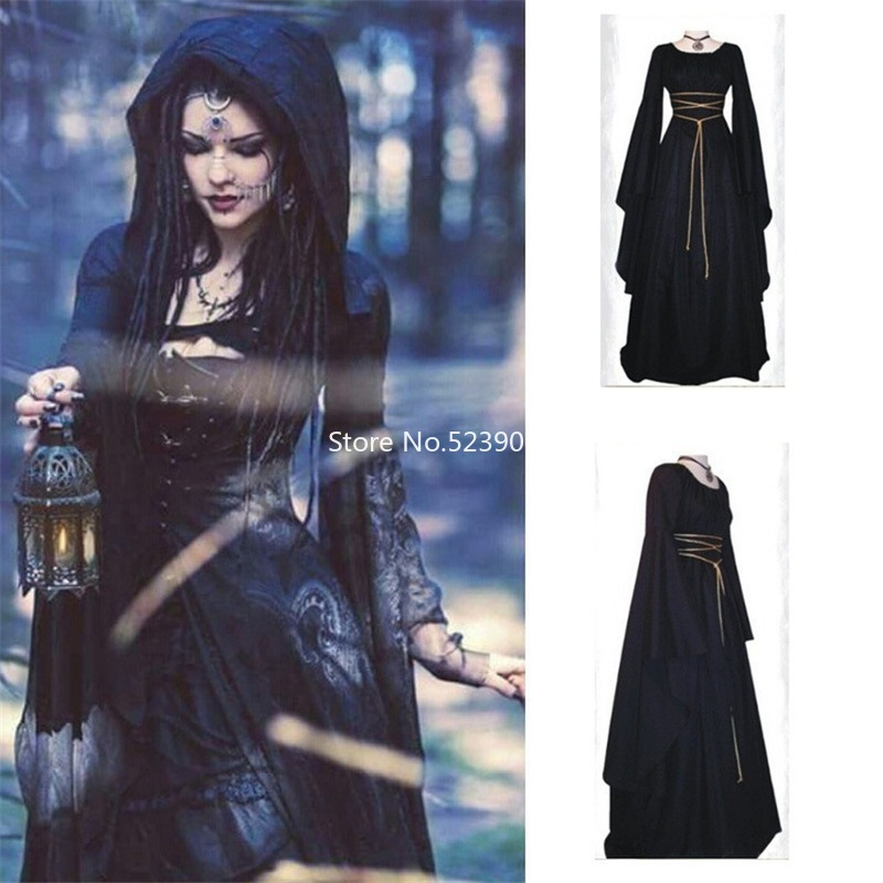 Victoria Medieval Lady Party Formal Dresses Halloween Retro Gothic Women Vampire Devil Bride Court Carnival Elf Cosplay Costumes