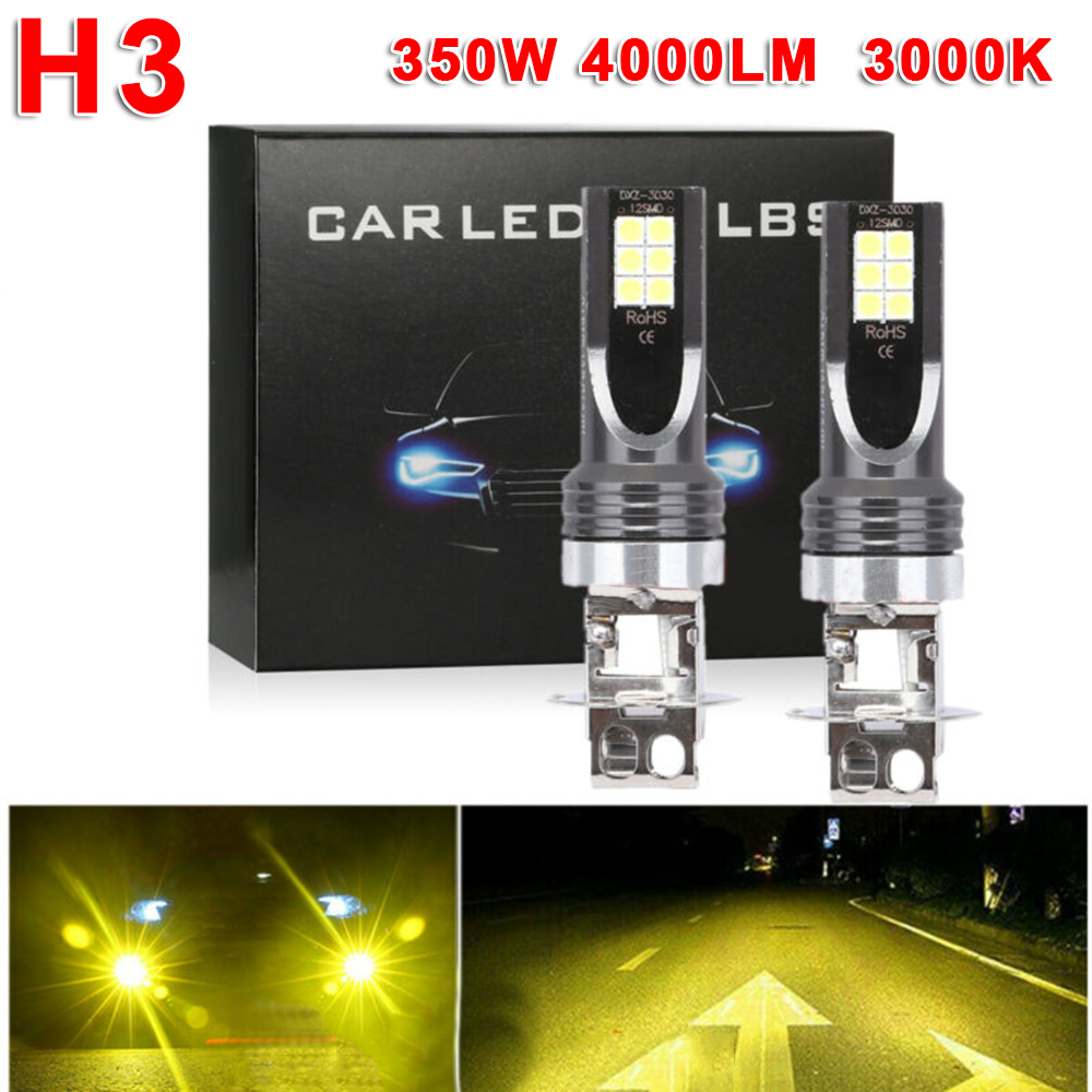 2Pcs H3 DC 12V-24V 350W Yellow Car Vehicle LED Fog Light Lamp Conversion Bulbs Headlight Kit 4000LM 3000K Car DRL