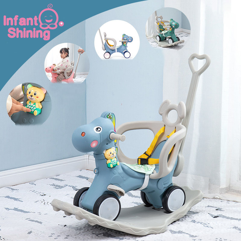 Infant Shining Kids Animal Rocking Horses Multi-functional Rocking Chairs Trojan Toys Baby Play Baby Walker Indoor For Girl Gift