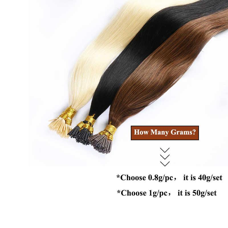 QHP włosy proste maszyny wykonane doczepy z włosów typu Remy 50 sztuk/zestaw prosto keratyny I końcówki włosów ludzkich
