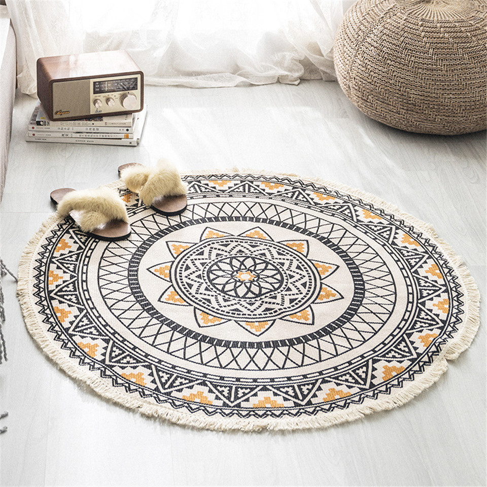 Nordic Morocco Round Carpet Bohemia Ethnic Tassel  Yellow Mandala Carpet Living Room Cotton Linen Big Rugs Modern Classic