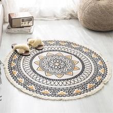 Nordic Morocco Round Carpet Bohemia Ethnic Tassel  Yellow Mandala Carpet Living Room Cotton Linen Big Rugs Modern Classic