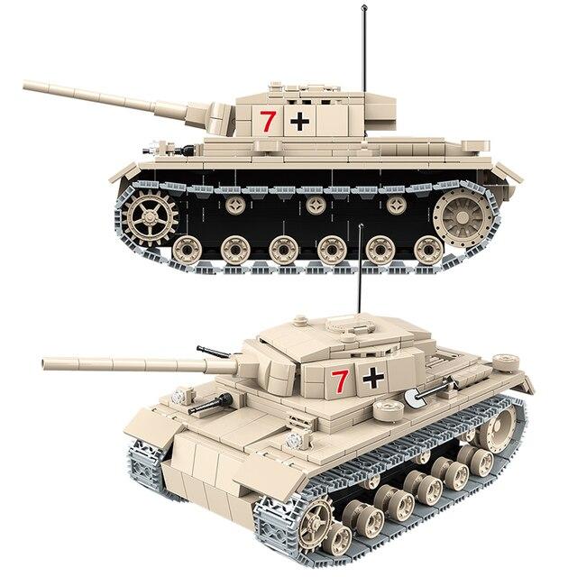 Military Heavy German Tank Building Blocks Technic No.3 Tank Bricks WW2 Army Police Soldier DIY Toys Gifts For Children 100067
