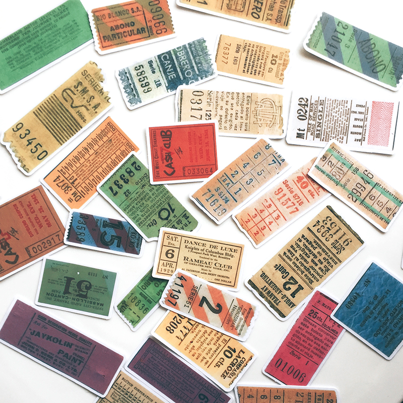 31Pcs/Set Retro Vintage Ticket Label Tags Sticker DIY Craft Scrapbooking Album Junk Journal Happy Planner Decorative Stickers
