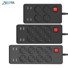 מרובה כוח רצועת מגן 8 יציאות AC האיחוד האירופי Plug Socket עם USB מטען 1.8m הארכת כבל עבור מחשב טלוויזיה Smartphone