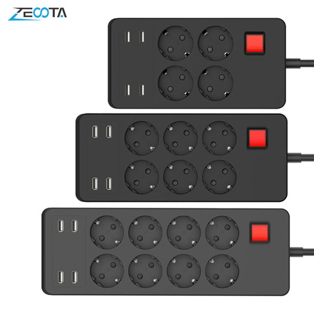 Multiple Power Strip Surge Protector 8 AC Outlets EU Plug Socket with USB Charger 1.8m Extension Cord for Computer TV Smartphone