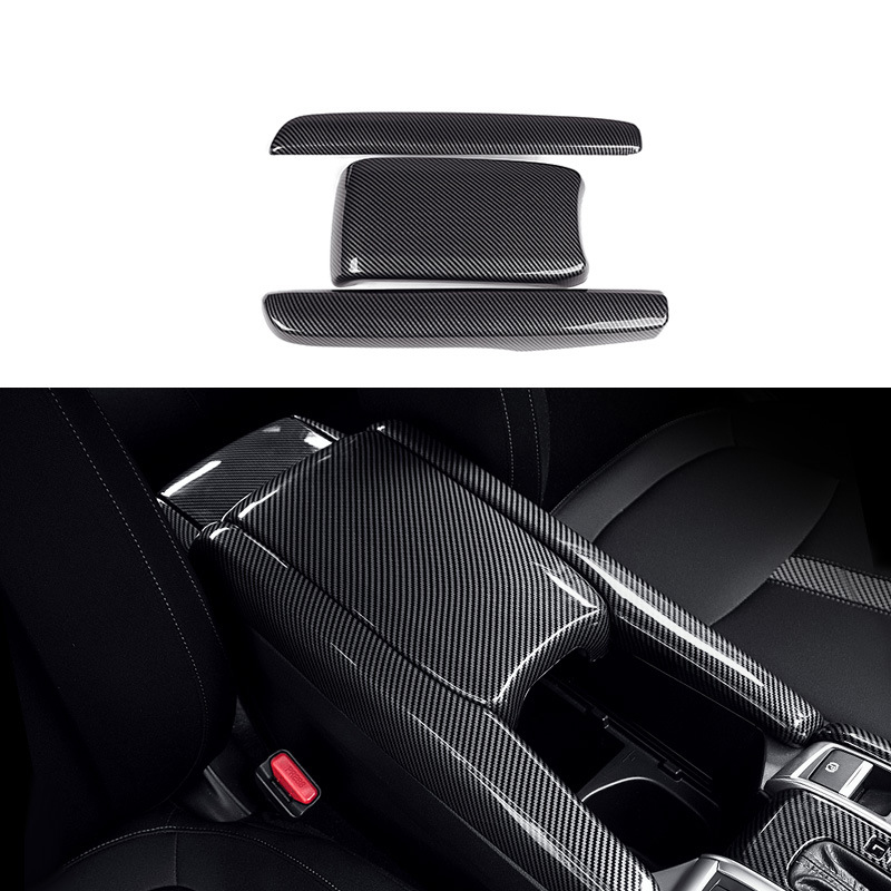 Armrest Box Protective Covers Carbon Fiber Car Central Armrest Decorative Modification for Honda Civic 10Th 2016 2017 2018 2019