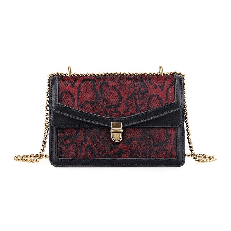 Women Small Crossbody Bag Python Snake Pu Leather Chain Bag Luxury Brand Flap Bag Ladies Messenger Shoulder Handbags and Purses
