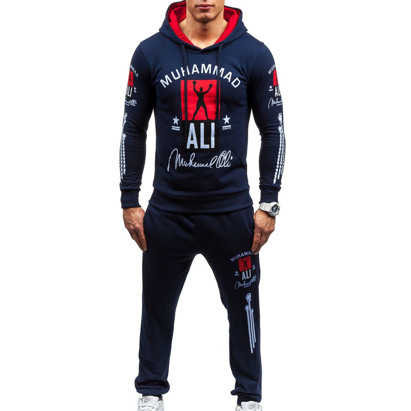 ZOGAA Men's Tracksuit Brand 2 Piece Sets Autumn Casual Hooded Sweatshirt Pants Sweatsuit Jogging Suit Men Slim Letter Sport Suit