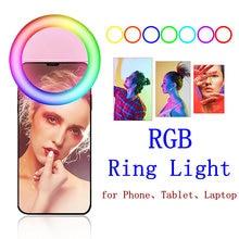 Клипса rgb селфи кольцо светильник для Мобильный телефон светодиодный
