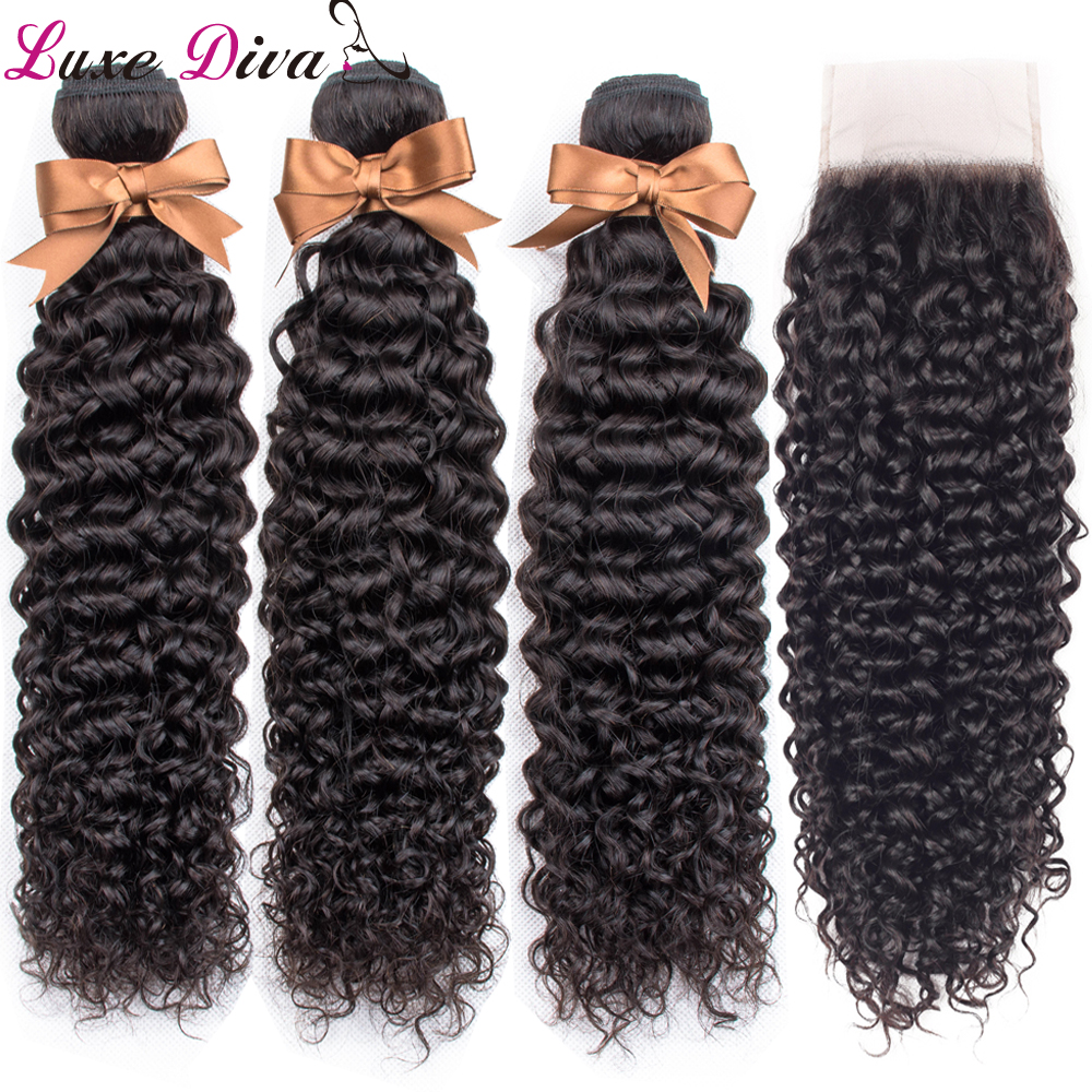 Luxediva Brazilian Afro Kinky Curly Human Hair Bundles With Closure 3 Bundles Natural Color Brazilian Human Curly Remy Hair