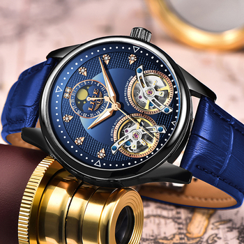 цена 2020 LIGE Brand Men Watches Automatic Mechanical Watch Tourbillon Clock Leather Casual Business Retro Wristwatch Relojes Hombre онлайн в 2017 году