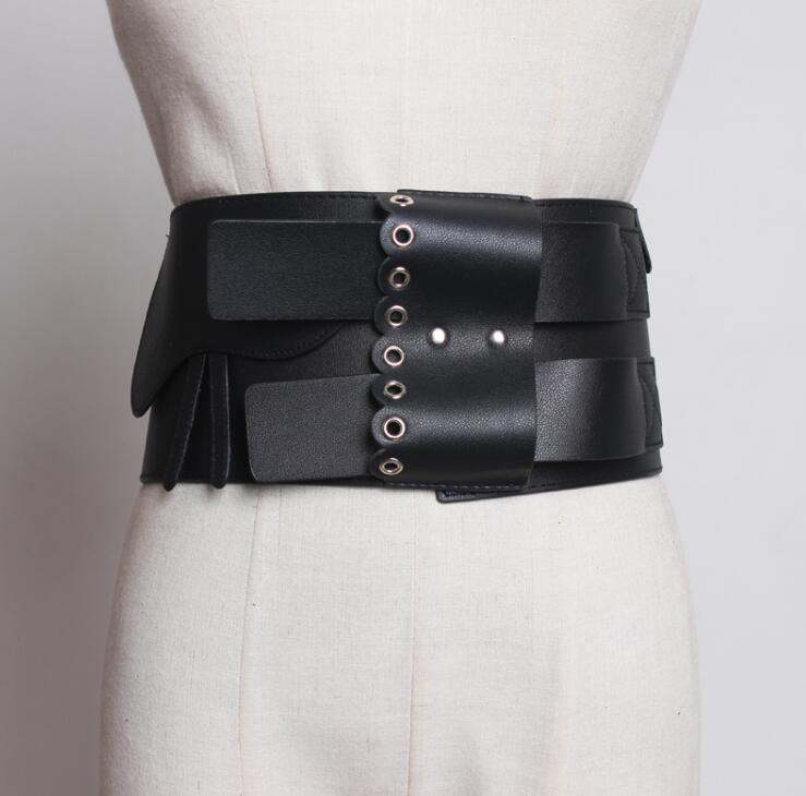 Women's Runway Fashion Vintage Pu Leather Cummerbunds Female Dress Corsets Waistband Belts Decoration Wide Belt R1829