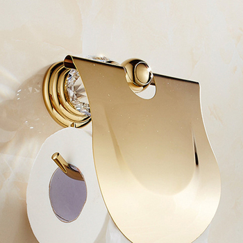 Luxury Zirconium Gold Solid Brass Toilet Paper Holder Polished Towel Bar Artificial Crystal Round Base Towel Ring Bathroom Acces