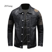 European Style Embroidery Bomber Pilot Tattered Black Denim Jacket Men Jeans Coat Motorcycle Casual Slim Outwear Clothing