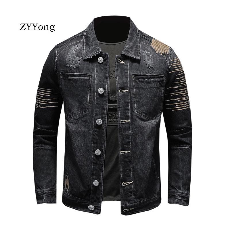 ZYYong Retro Embroidery Black Denim Jacket Men's Jacket Cotton Lapel Casual Fashion Teen Long Sleeve Denim Motorcycle Jacket Men