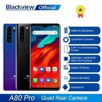 Global Version Blackview A80 Pro Quad Rear Camera Octa Core 4GB+64GB Mobile Phone 6.49' Waterdrop 4680mAh 4G Celular Smartphone