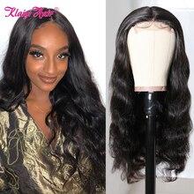 Klaiyi Hair Body Wave 4X4 Lace Closure Wig Brazilian Remy Human Hair Wigs For Women Natural Color Wavy 4x1 T Part Lace Wigs