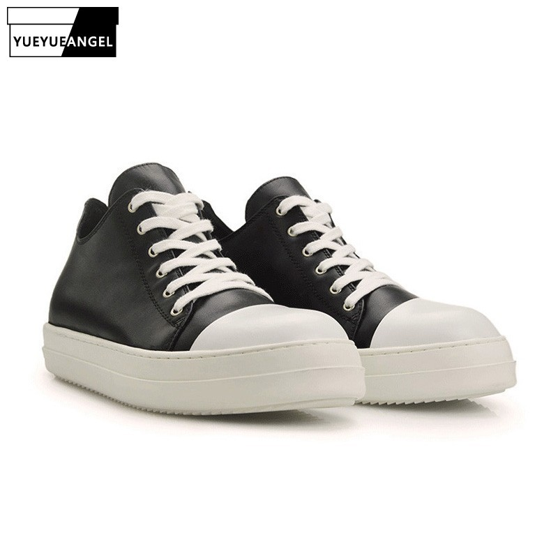 2020 Match Color Mens Casual Shoes Lace Up Round Toe Black White Genuine Leather Male Footwear British Roman Hot Sale Fashion