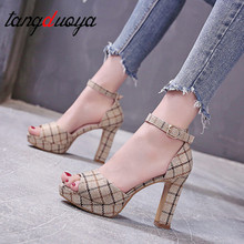 Women's Summer Plaid Sandals Cloth Sexy High Quality Outsid Ladies Shoes Color M