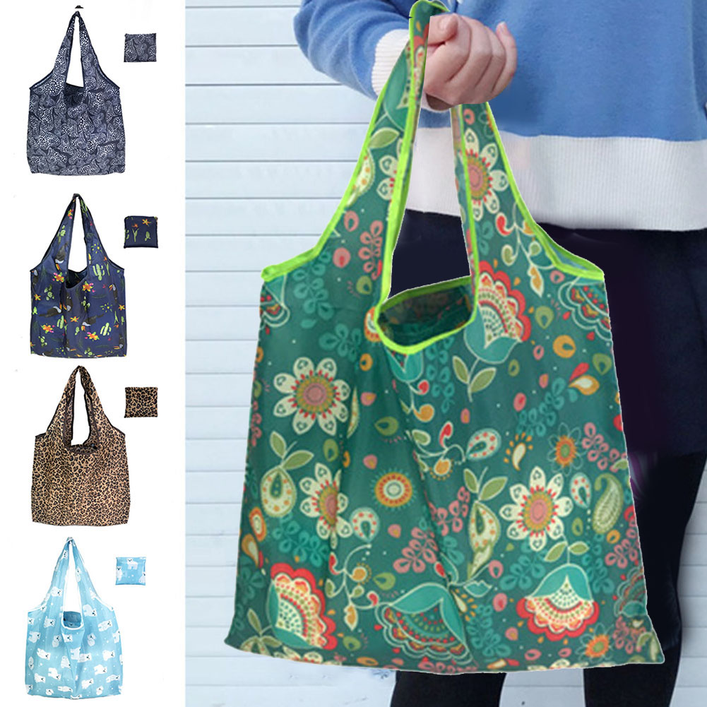 New Large Capacity Casual Women Printed Shopping Bag Foldable Handbag Fashion Storage Pouch Reusable Bags