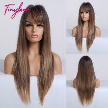 TINY LANA naturalne długie proste peruki z grzywką żaroodporne syntetyczne włosy Ombre czarne brązowe blond złote peruki dla kobiet