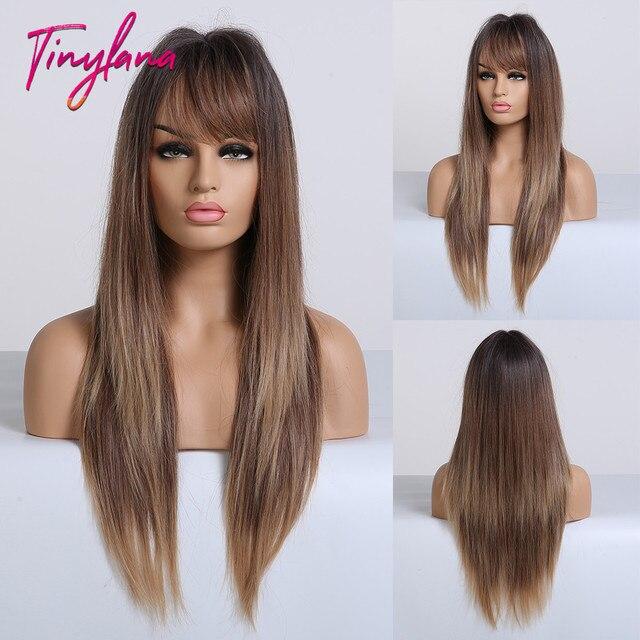 TINY LANA perruques synthétiques lisses longues avec frange, perruques ombrées noires brunes blondes et dorées résistantes à la chaleur pour femmes