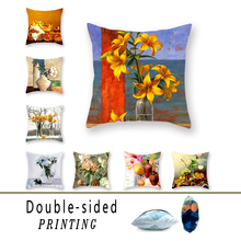 Retro Oil Painting Double-sided Polyester Flower Series Throw Pillowcase Living Room Sofa Car Square Cushion Cover Decoration