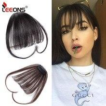 Leeons – Extensions de fausse frange pour filles, cheveux synthétiques, frange à Clip, aspect naturel, frange plate