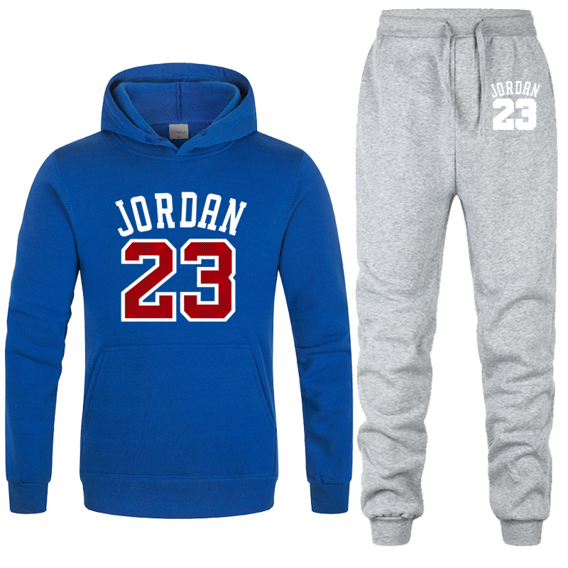 New Men Hoodies Suit Jordan 23 Tracksuit Sweatshirt Suit Fleece Hoodie+Sweat Pants Jogging Homme Pullover 3XL Sporting Suit Male