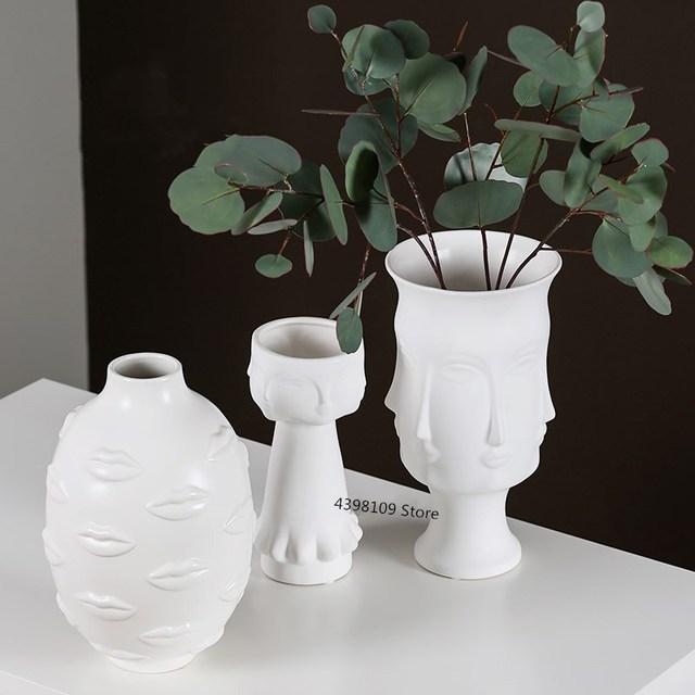 Scandinavian white ceramic vase decoration home decoration crafts modern interior decoration countertop vase art face shape vase 2