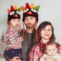 Sombrero de pavo hecho a mano, accesorios de fotografía cálidos, trenzas turcas tejidas para bebé, gorro de Acción de Gracias, regalo, sombrero para bebé Z7R9
