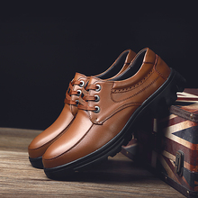 Fashion Leather shoes mens commuter business dress leather wild England wind work Genuine Derby