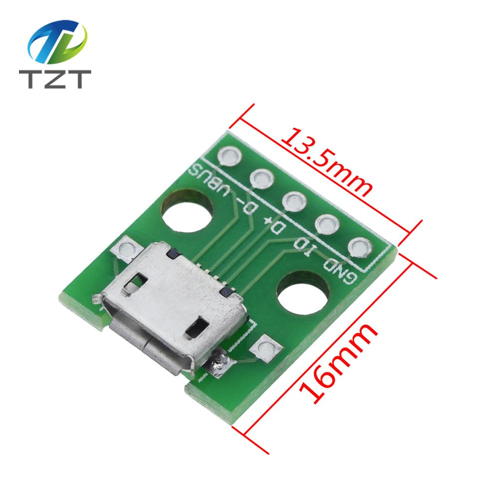 10 шт. разъем/мини-видеокамера с разъемом MICRO USB для DIP адаптер 5pin гнездовой разъем конвертер печатной платы типа в pinboard 2,54 мм