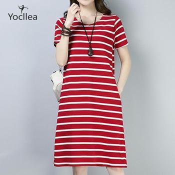 Plus size 4XL Retro stripes Short sleeve Summer dress with pockets female Slim O-Neck Casual Dresses vestidos цена 2017