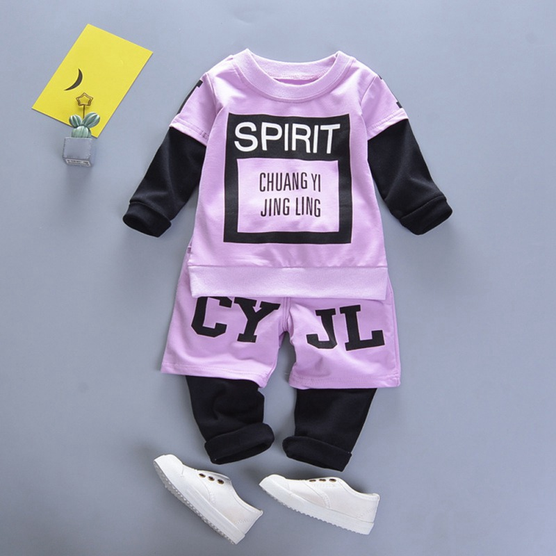 Baby Kid Clothes Boy Girl Set Cartoon Letter Print Long Sleeve Top+Pant autumn 2PCs Cotton Girls Clothes#C