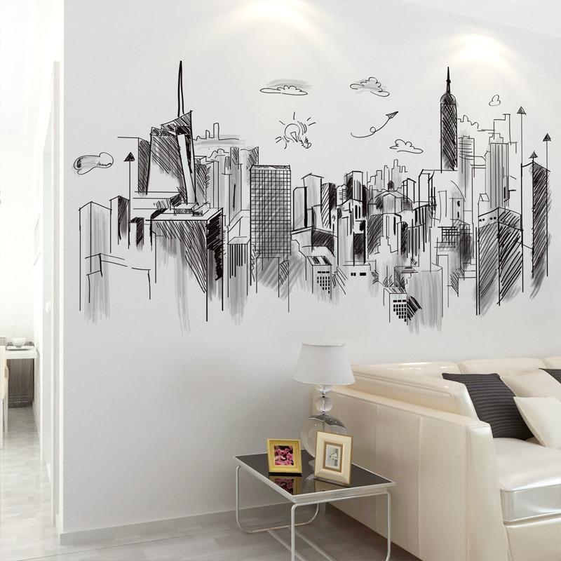 [Shijuehezi] edifícios pretos adesivos de parede arquitetura diy mural decalques para casa sala estar quarto escritório decoração