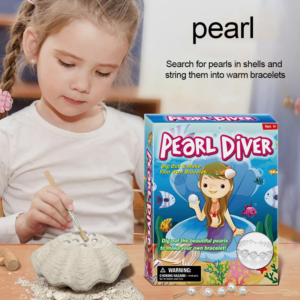 Children's Puzzle DIY Assembly Archaeological Toys Excavation Shell Pearl Bracelet Children Over 6 Years Old Plaster Material