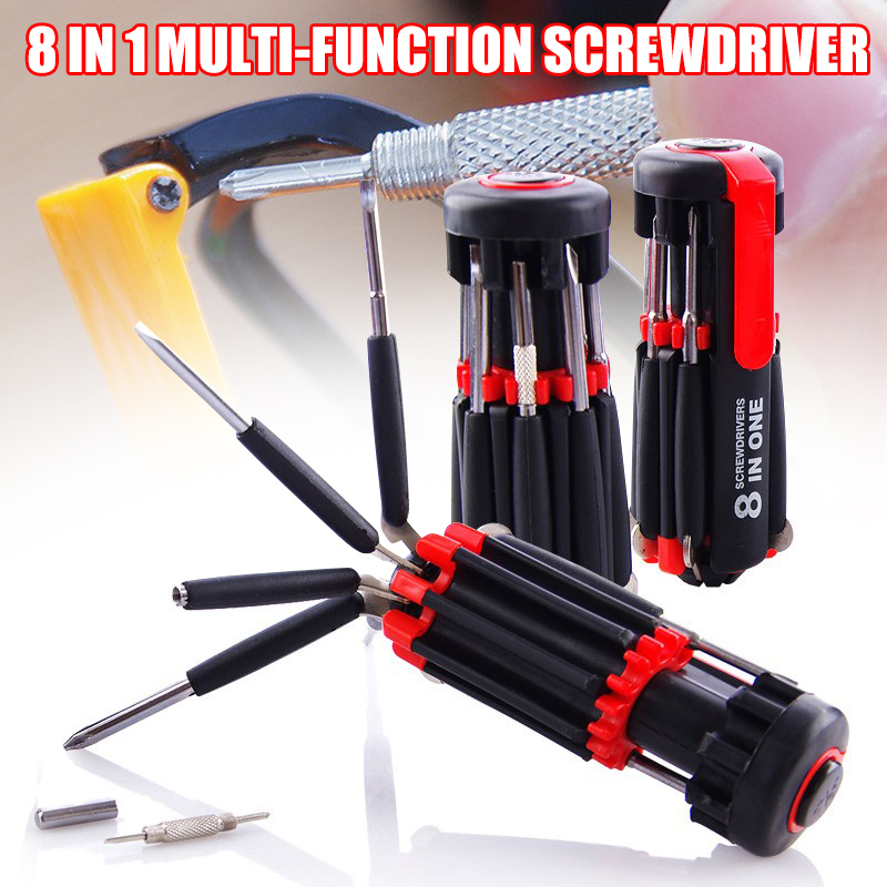 <font><b>8</b></font> <font><b>in</b></font> <font><b>1</b></font> <font><b>Screwdriver</b></font> Multifunctional Tools with <font><b>Flashlight</b></font> for Home Auto Outdoor QJS Shop image