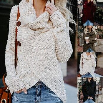 Femmes pull à col roulé automne casual lâche boutons tricoté femme pull mode irrégulière solide grande taille pull chandails