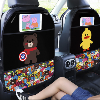 2020 Anti-kick Pad for Car Seat Backrest Children's Cartoon Protection Pad Premium Car Seat Protector Car Seat Back Protector car seat kick mat for lincoln mkz leather seat back protector proof anti dirty interior car accessories protection