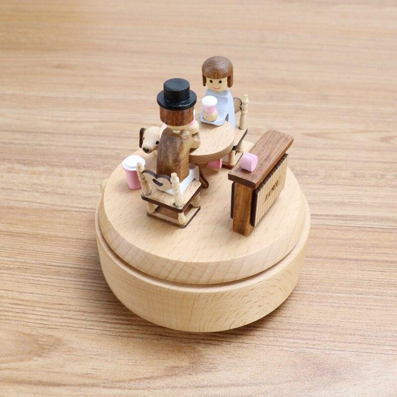 Wooden Best Friend Music Box Small Creative Birthday Musical Box Couple Gift For Girlfriend Boite A Musique Gift Box DJ60YH