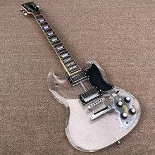 2020 de alta qualidade china sg guitarra elétrica, guitarra acrílica com luzes led multicolorido, personalizado guitarra elétrica, frete grátis