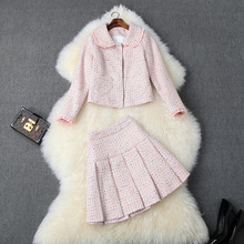 European and American women's clothing 2019 winter new style Long sleeve doll collar coat Pleated skirt tweed suit