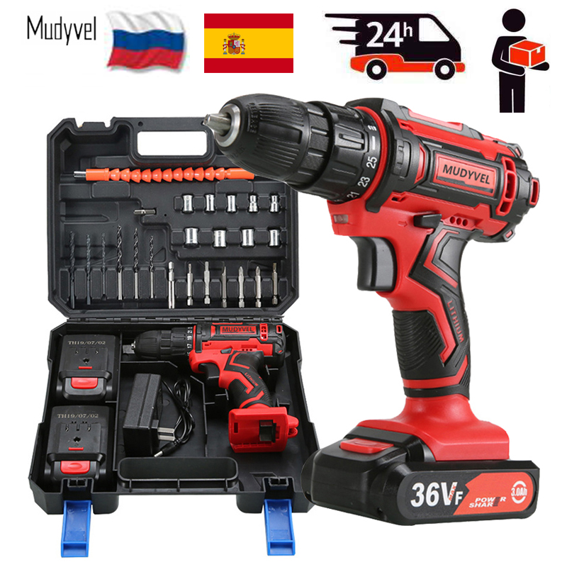 Cordless Electric Drill Mini <font><b>12V</b></font> 16.8V 36V Rechargeable Battery Power Tools 3/8-Inch 2 speed With toolbox Cordless Screwdriver image