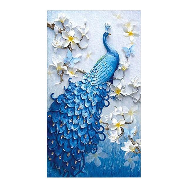 ブルー孔雀動物のダイヤモンドの絵画モクレン花ラウンドフルドリル5D nouveaute diyモザイク刺繍クロスステッチギフト