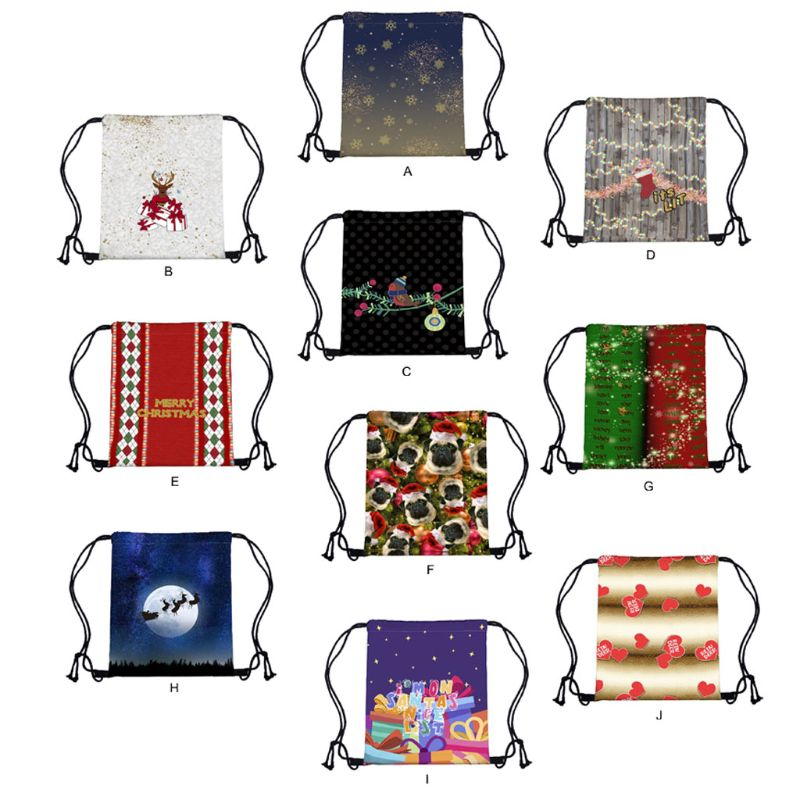 Women Christmas Backpack Drawstring Shopping Bags Travel Party Decoration